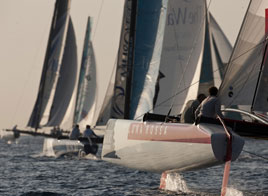 EXTREME SAILING SERIES ACT 7, LIGHT WINDS, LUNA ROSSA MOVES UP