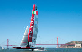 Luna Rossa foiling on the San Francisco Bay
